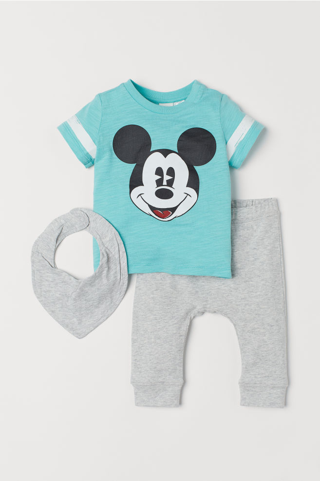 f168b0c50 T-shirt and Pants - Turquoise melange/Mickey Mouse - Kids | H&M US