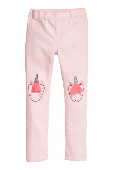 Treggings with appliqués - Light pink/Unicorn - Kids | H&M