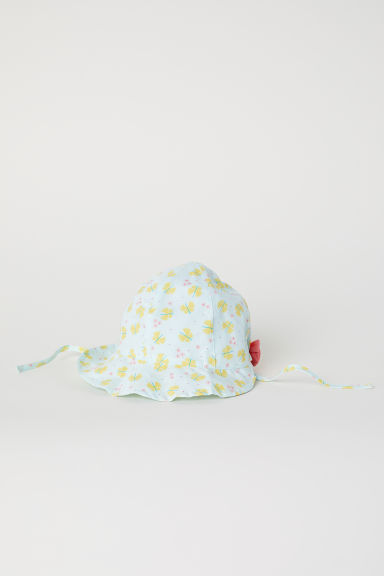 Cotton sun hat - Light turquoise/Butterflies - Kids | H&M