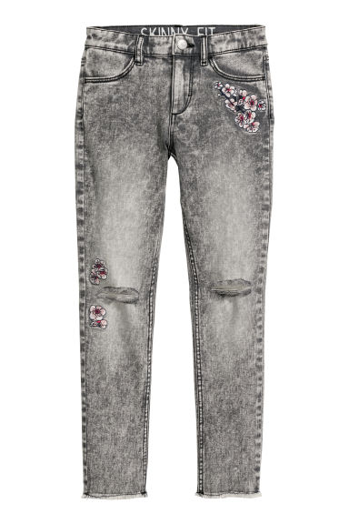 Twillbyxa Skinny fit - Grå washed out/Blommor -  | H&M SE
