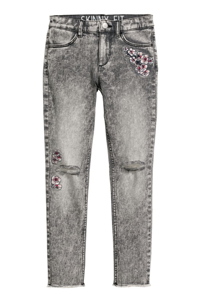 7dfbf4206a4 Twill trousers Skinny fit - Grey washed out Flowers - Kids