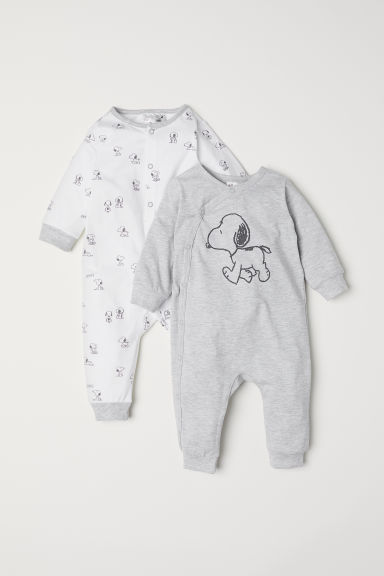 2-pack all-in-one pyjamas - Light grey marl/Snoopy - Kids | H&M