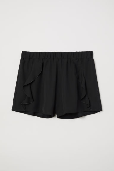 Frill-trimmed shorts - Black - Ladies | H&M