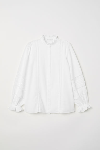 Blouse with lace - White - Ladies | H&M