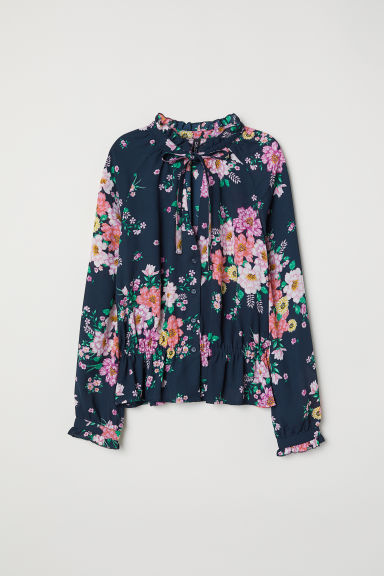 Chiffon blouse with flounces - Dark blue/Floral - Ladies | H&M CN