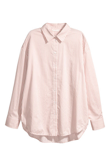 Cotton shirt - Powder pink/White striped - Ladies | H&M