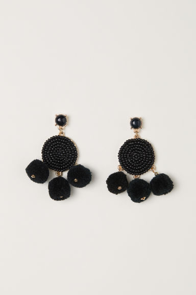 Pompom earrings - Black -  | H&M