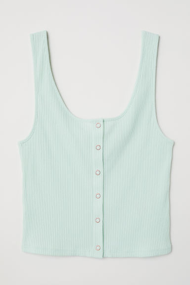 Tank Top with Snap Fasteners - Light green -  | H&M US