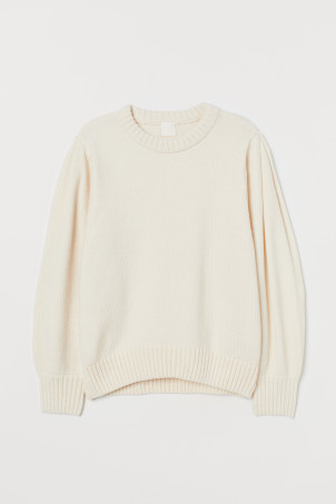 Puff-sleeved chenille jumper
