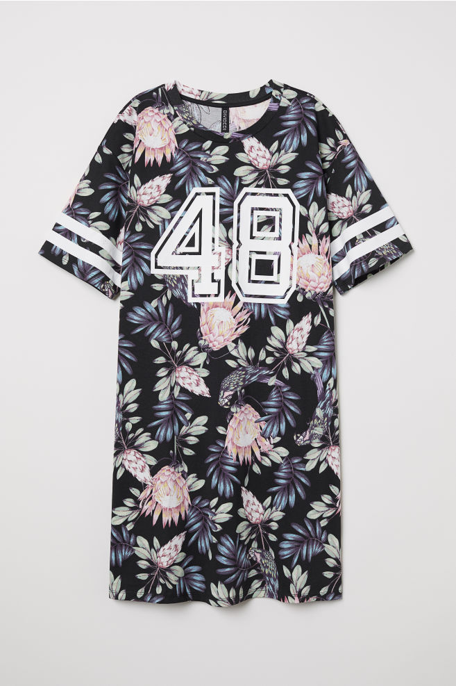 2bba4036b9 T-shirt dress - Black Botanical -