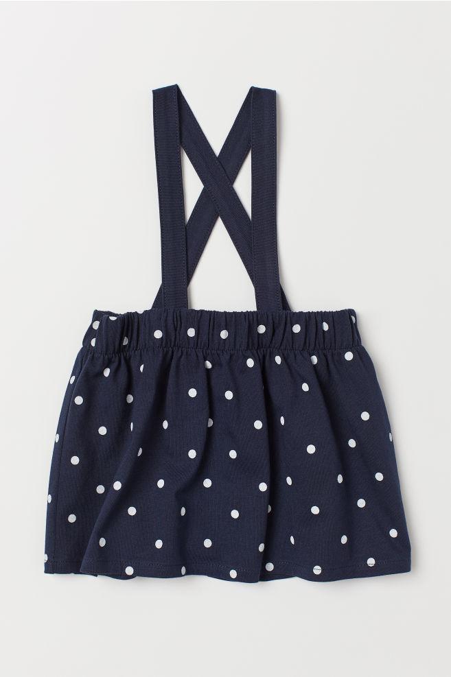0b8b3d5ed Falda de algodón con tirantes - Azul oscuro Lunares blancos - NIÑOS ...