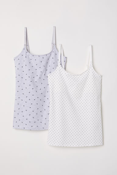 MAMA 2-pack nursing tops - Light grey marl/Spotted - Ladies | H&M CN