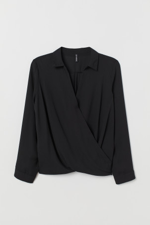 H&M+ Collared wrapover blouse
