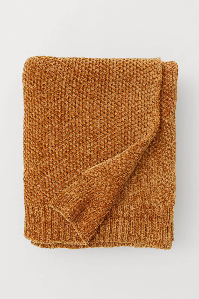 Chenille blanket - Dark yellow - Home All | H&M GB