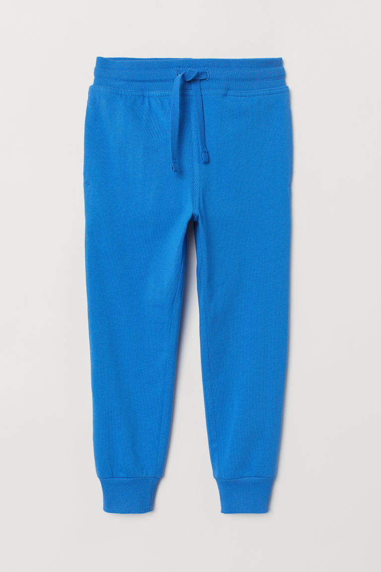 Cotton jersey joggers - Bright blue - Kids | H&M