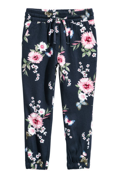 Pantaloni pull-on - Blu scuro/fiori - BAMBINO | H&M IT