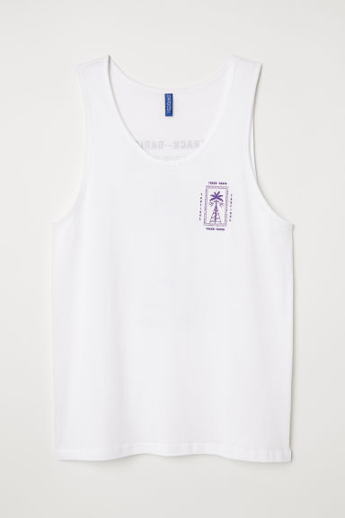 Cotton vest top - White/Track Radio - Men | H&M