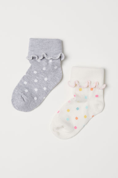 2 pairs spotted socks - White/Spotted - Kids | H&M CN