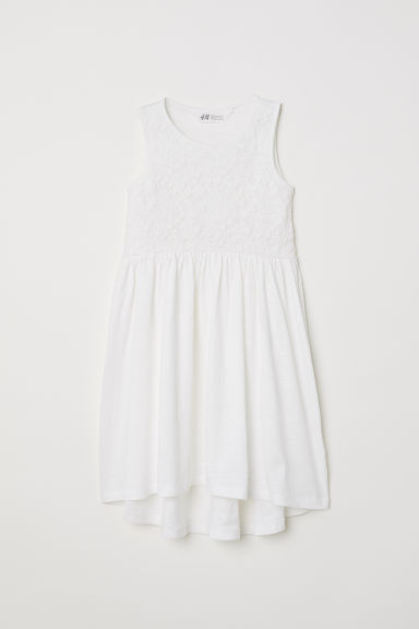 Jersey dress with lace - Natural white - Kids | H&M