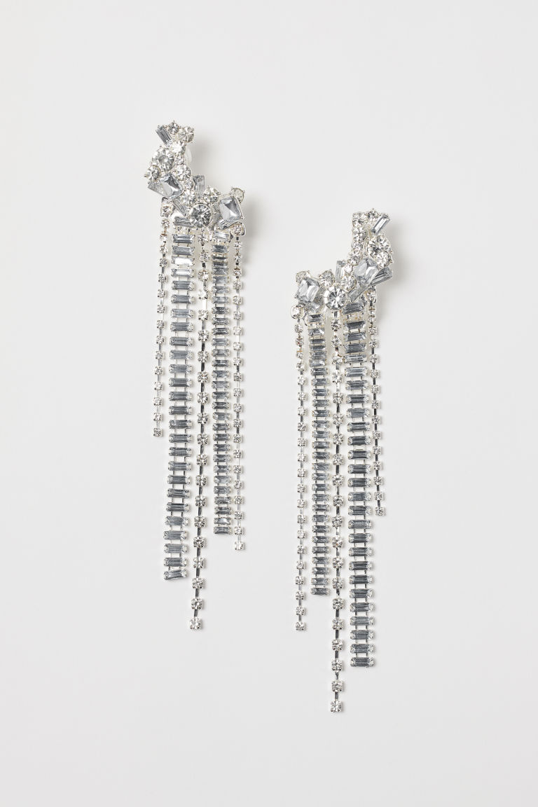 Sparkly earrings with clips - Silver-coloured - Ladies | H&M