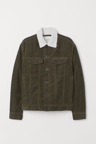 Pile-lined corduroy jacket - Khaki green - Men | H&M