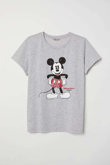 Printed T-shirt - Light grey marl/Mickey Mouse - Ladies | H&M