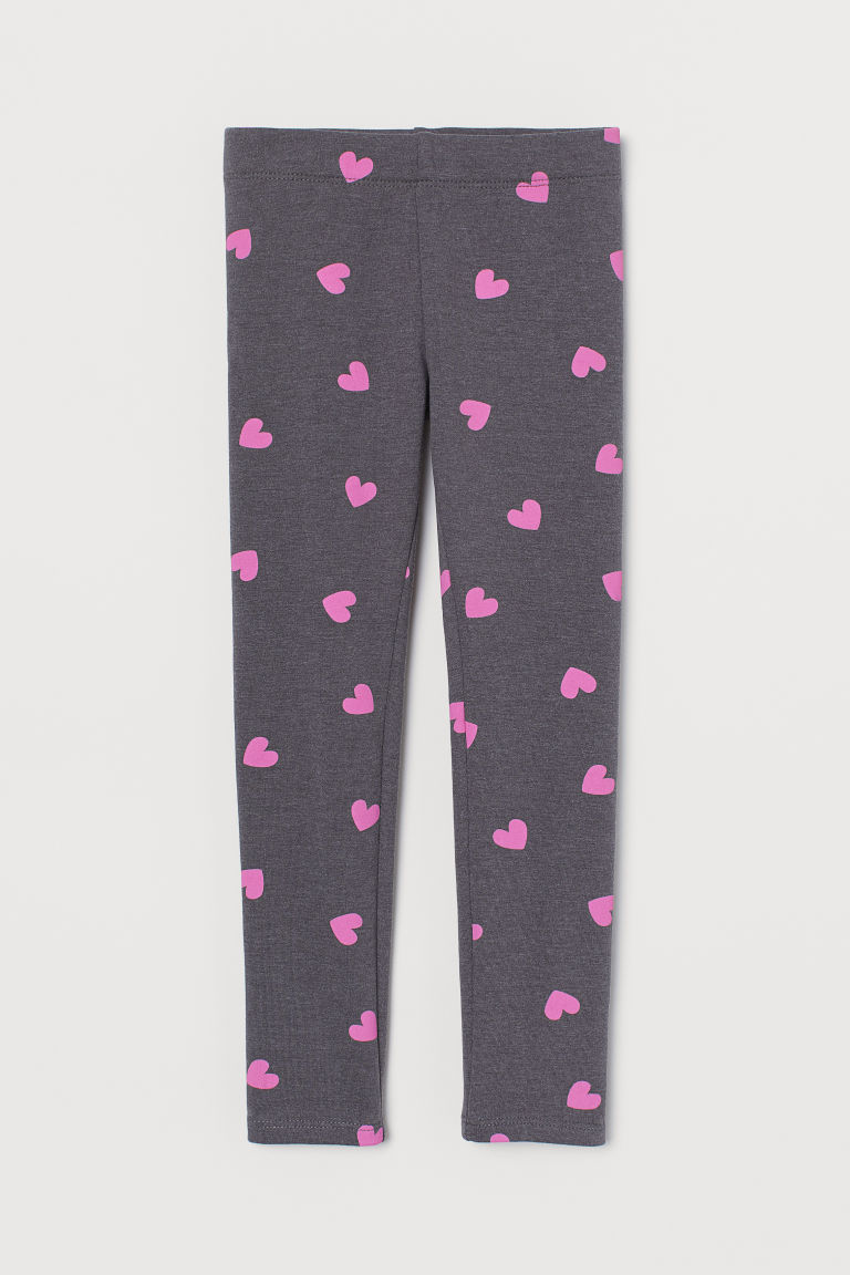 Leggings with brushed inside - Dark grey/Hearts - Kids | H&M CN