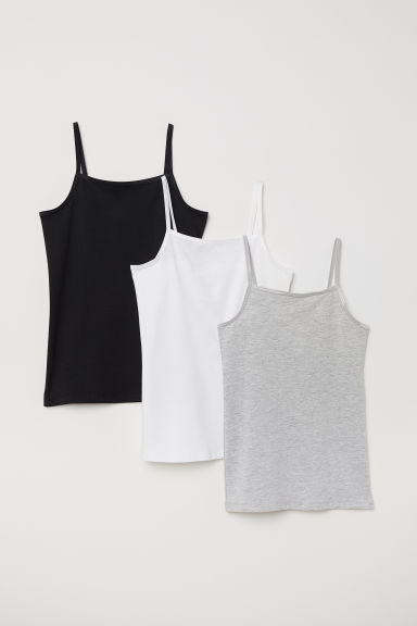 3-pack strappy tops - Grey/Black/White - Kids | H&M