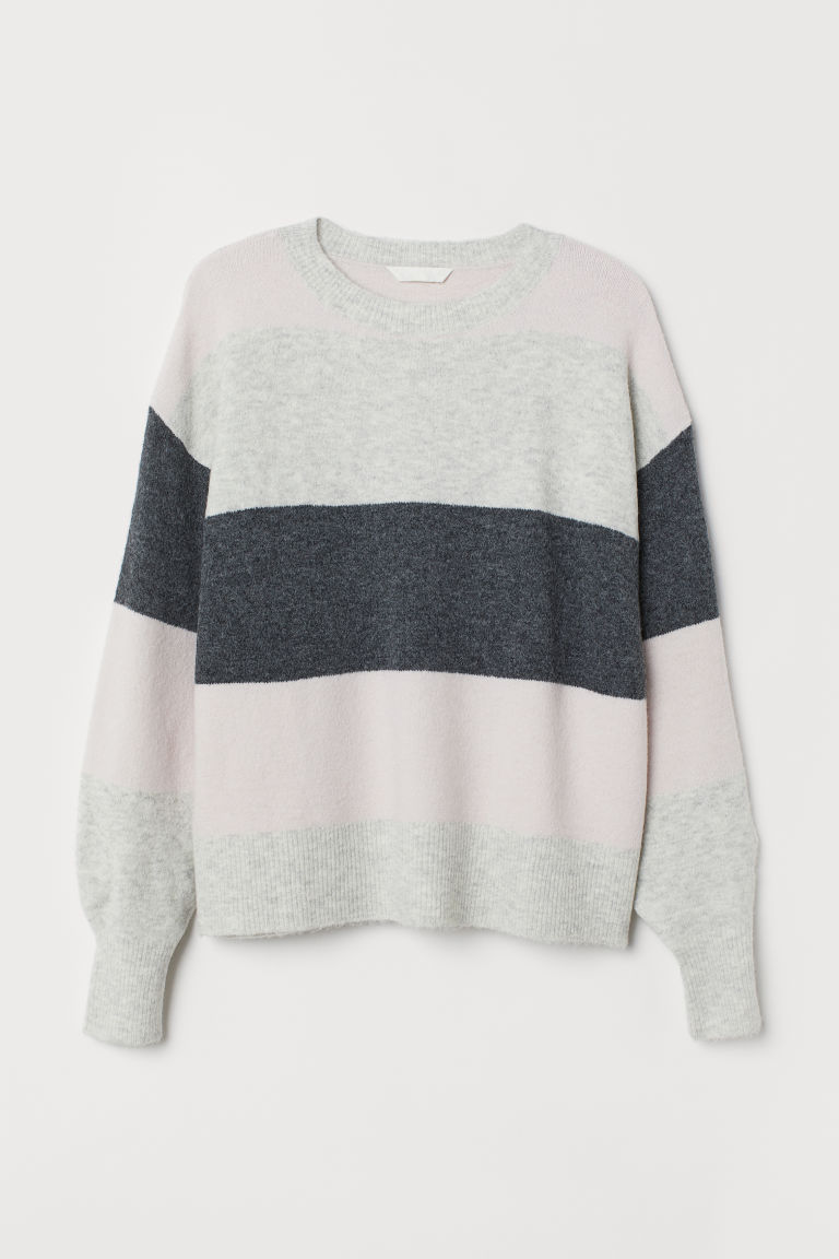 H&M+ Fine-knit jumper - Light pink/Striped - Ladies | H&M