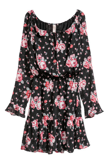 Flounced dress - Black/Flowers - Ladies | H&M GB