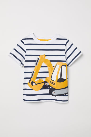 Printed T-shirt - White/Digger - Kids | H&M