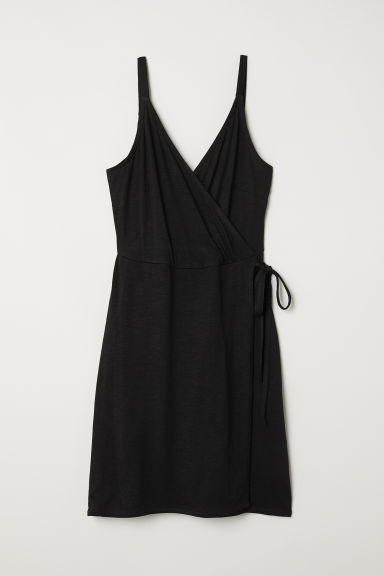 Modal-blend wrap dress - Black - Ladies | H&M CN