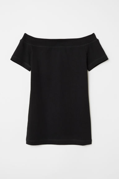 Off-the-shoulder top - Black - Ladies | H&M CN