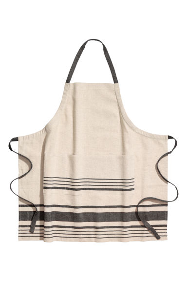 Linen-blend apron - Beige/Grey striped - Home All | H&M CN