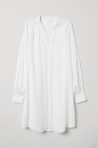 Dress with V-shaped neck - Cream - Ladies | H&M CN
