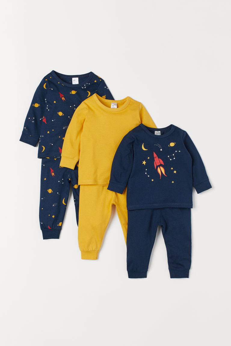 3-pack pyjamas - Dark blue/Rocket - Kids | H&M IN