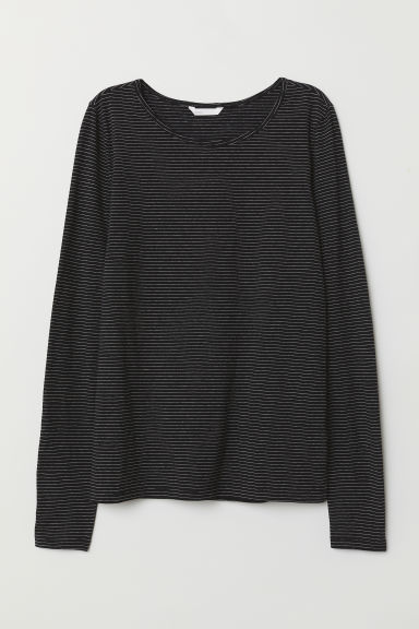Top jersey a maniche lunghe - Nero/righe - DONNA | H&M IT