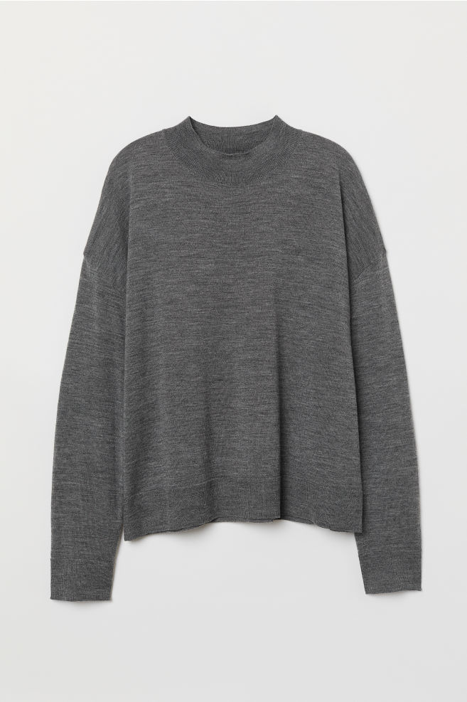 410f38cf7c6c99 Fine-knit Merino Wool Sweater - Dark gray melange - Ladies | H&M ...