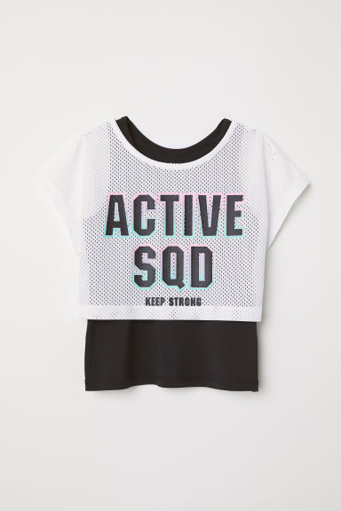 Double-layered sports top - White/Black - Kids | H&M CN