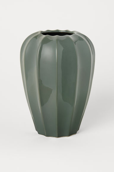 Tall stoneware vase - Moss green - Home All | H&M CN