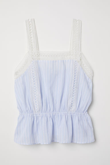 Sleeveless top with lace - Light blue - Ladies | H&M