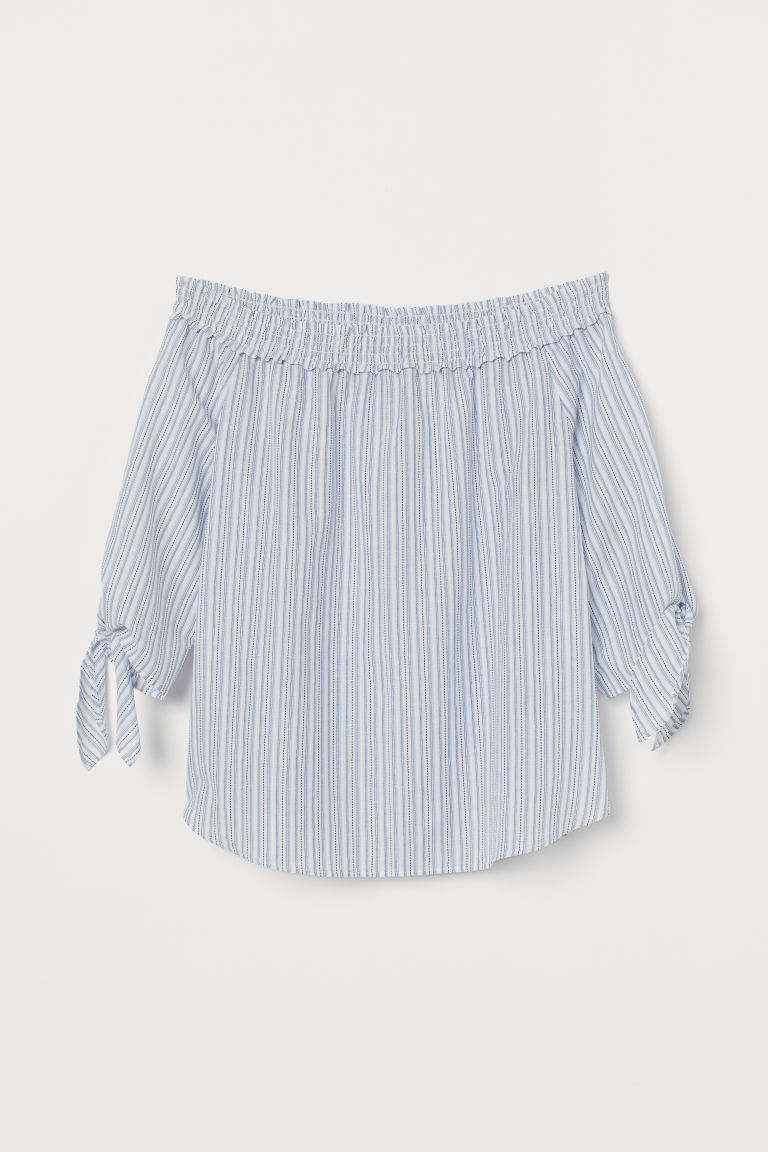 Off-the-shoulder Blouse - White/light blue striped - Ladies | H&M CA