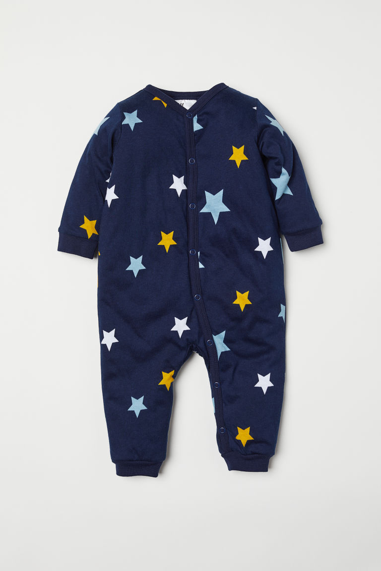 Padded all-in-one pyjamas - Dark blue/Stars - Kids | H&M
