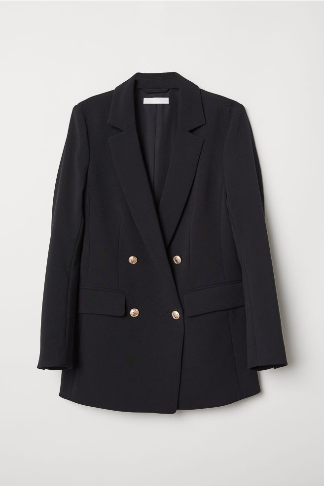 7110651a Double-breasted jacket - Black - Ladies | H&M ...