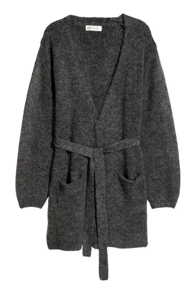 Cardigan with a tie belt - Dark grey - Kids | H&M CN