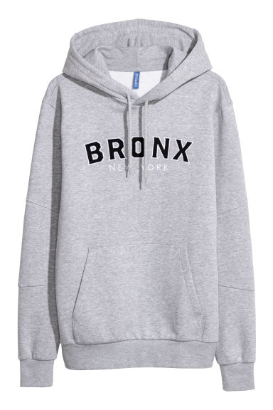 Hooded top with a motif - Light grey/Bronx New York -  | H&M