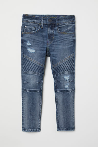Skinny fit Biker jeans - Denimblauw washed out - KINDEREN | H&M BE