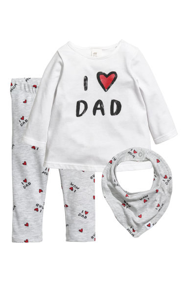 Ensemble 3 pièces en jersey - Blanc/I love Dad -  | H&M BE