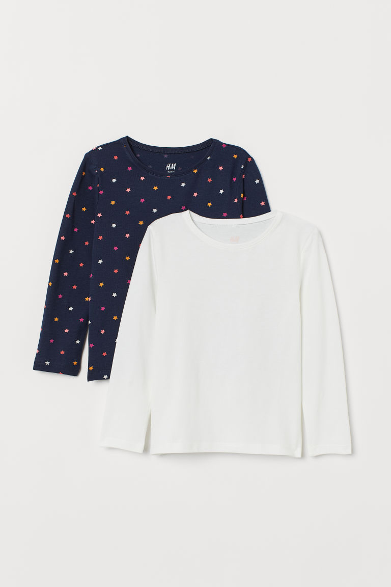 2-pack long-sleeved tops - Dark blue/Stars - Kids | H&M IE
