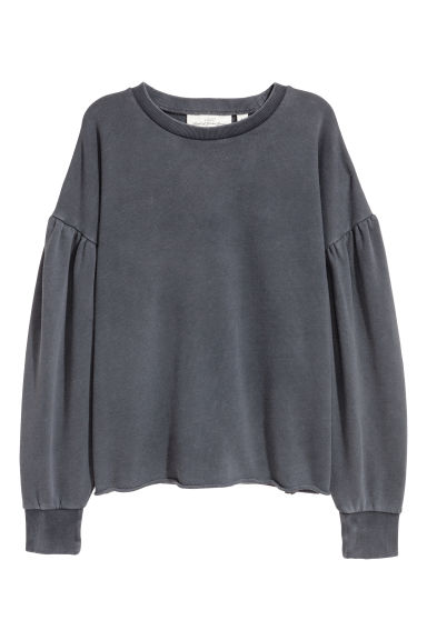 Puff-sleeved sweatshirt - Dark grey - Ladies | H&M CN